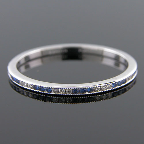 9ec999cf0d4e1 055-446P Ultra thin channel set alternating round sapphire and white ...