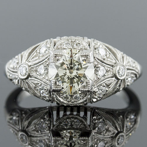 078D-1 Art Nouveau Pave set diamond floral and open grillework motif platinum engagement ring semi mount