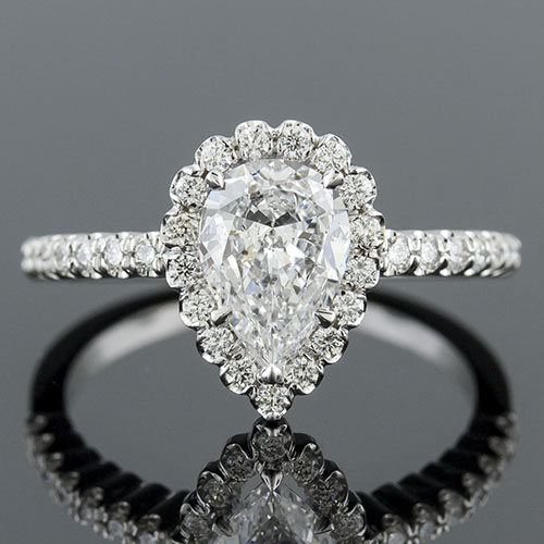 1158FP-1 Vintage inspired fishtail-set diamond platinum semi mount engagement ring setting for pear center