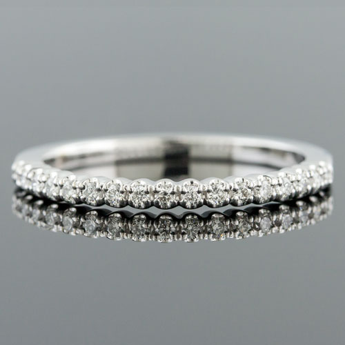 Mid Century-inspired Fishtail-set diamond 18K white gold high polish wedding band 1158WHX-101P
