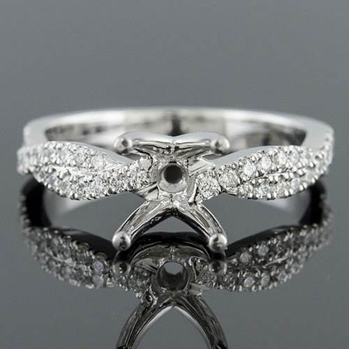 1410HDG-1 Modern Vintage inspired double crossover channel groove set diamond platinum engagement ring semi mount