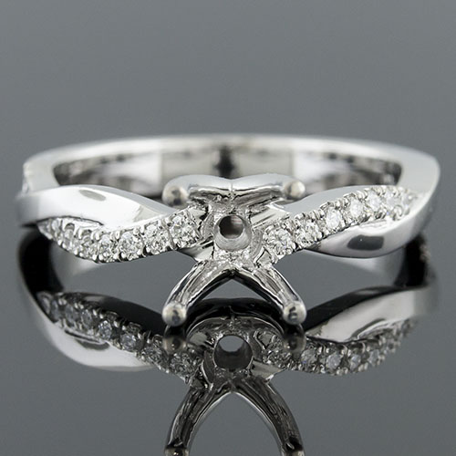 1410HG-1 Modern Vintage inspired single channel groove set diamond crossover platinum engagement ring semi mount