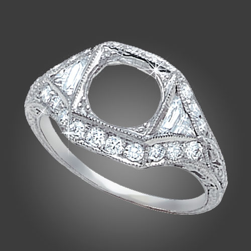 465-1 Art Deco fancy French cut and trillion diamond with Pave set diamond platinum engagement ring semi mount