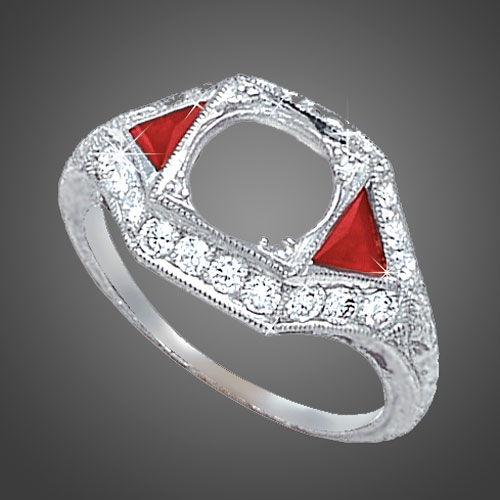 465-3 Art Deco fancy trillion ruby with Pave set diamond platinum engagement ring semi mount