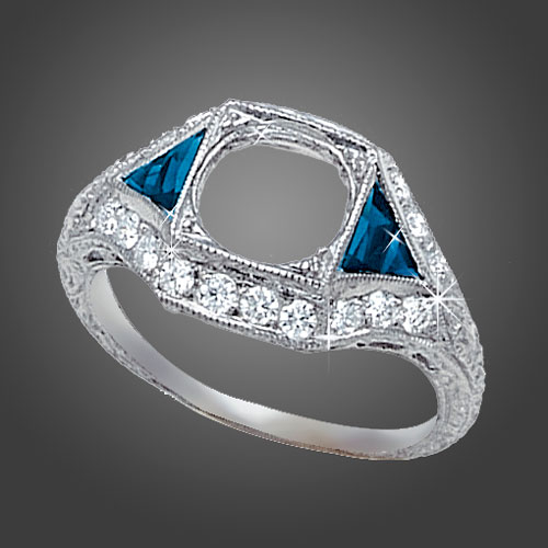 465-4 Art Deco fancy trillion sapphire with Pave set diamond platinum engagement ring semi mount