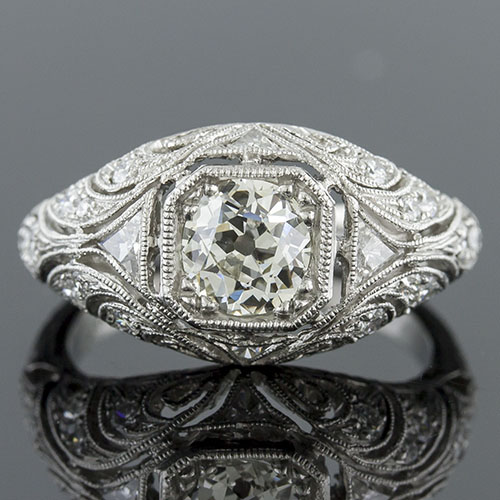 663-1 Art Nouveau reproduction fancy trillion diamond and Pave diamond filigree leaf motif platinum engagement ring semi mount