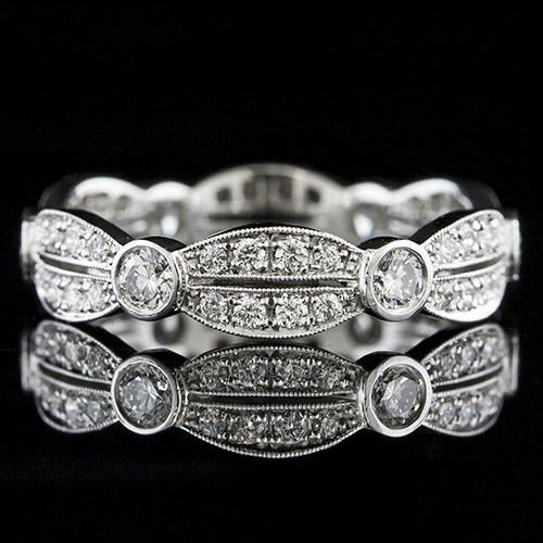 745-101P Art Deco-inspired Pave set and Bezel set diamond platinum alternating oval shaped wedding eternity band