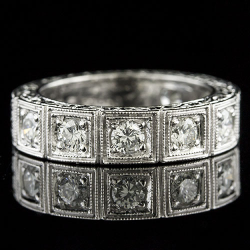 577AH-101 Art Deco-inspired Pave set diamond box section platinum half stone wedding eternity band