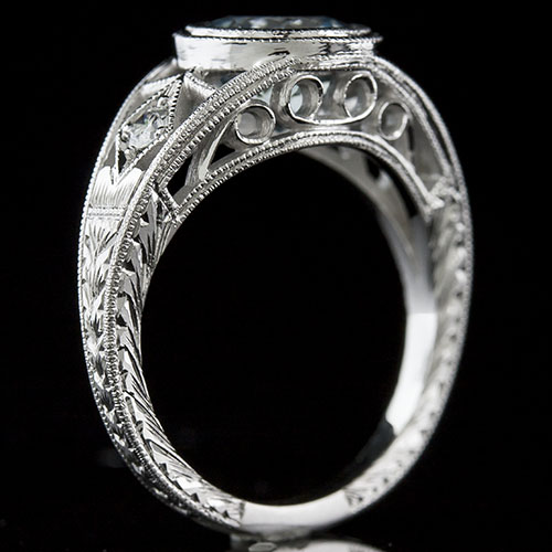 1423-1 Art Deco Pave set diamond platinum open filigree engraved engagement ring semi mount