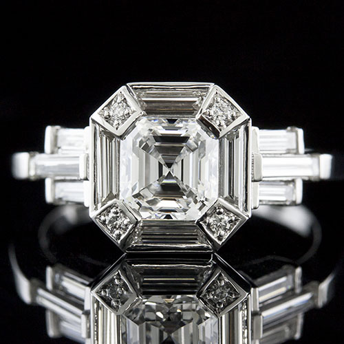 1420-1 Art Deco fancy straight cut baguette diamond and Pave set diamond halo platinum semi mount engagement ring