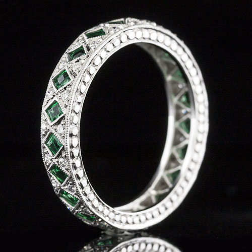 738-240 Art Deco square emerald and Pave set diamond platinum patterned eternity band