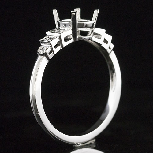 1605-1 Art Deco stepped 3-row Pave-set diamond platinum engagement ring semi mount