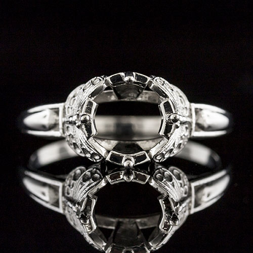 1624-1 Art Nouveau-inspired Butterfly motif platinum engagement ring semi mount