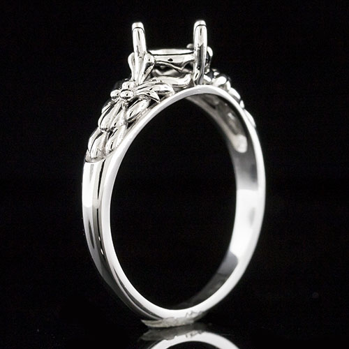 1620-1 Art Nouveau-inspired floral pattern platinum engagement ring semi mount