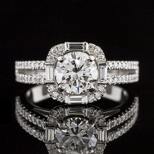 1638-1 Baguette and diamond Art Deco-inspired double shank halo platinum engagement ring semi mount