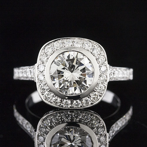 1252-1 Cathedral double row Pave set diamond halo Art Deco platinum engagement ring semi mount