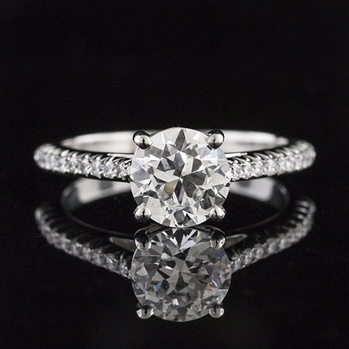 1495-1 Classic traditional style cutdown-set diamond shank platinum engagement ring semi mount