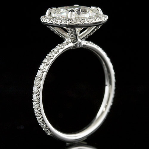 1427-1 Contemporary cutdown prong micro-set diamond platinum halo engagement ring semi mount