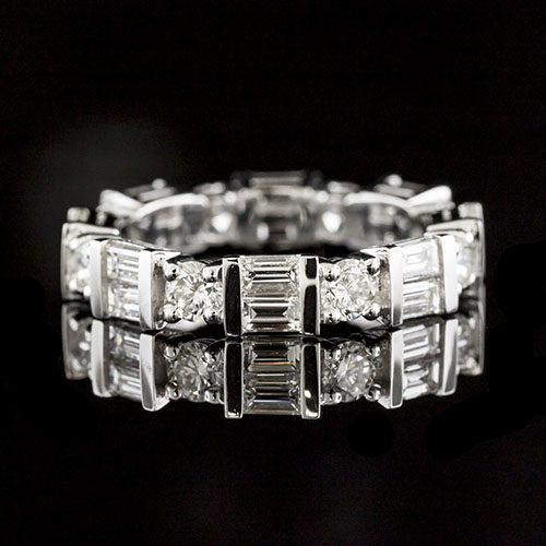 783-103P Contemporary diamond and bar-set baguette diamond double row platinum wedding eternity band