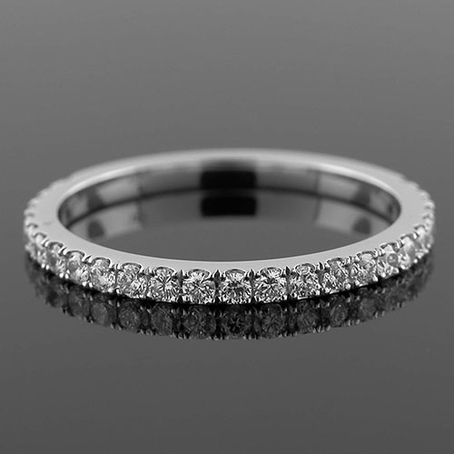 1299WT-101P Contemporary groove set diamond platinum three-quarter stone wedding band