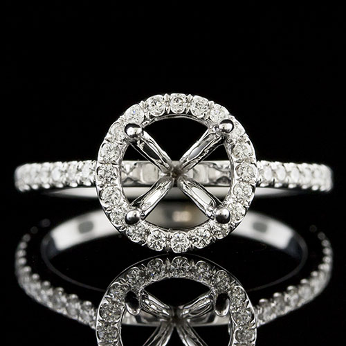 1440-1 Curved gallery arm Modern Vintage-inspired groove set diamond platinum semi mount engagement ring