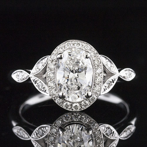 1459-1 Delicate floral motif Vintage design Micro Pave diamond halo engagement ring semi mount