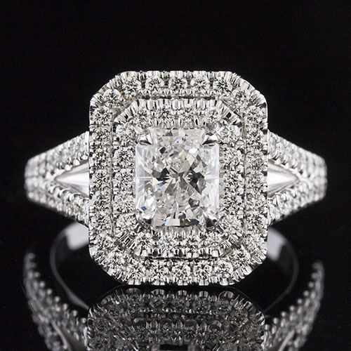 1488-1 Double Radiant-shaped halo split shank Modern Vintage diamond platinum engagement ring semi mount