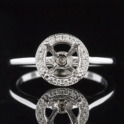 1490PV-1 Double gallery Modern Vintage-inspired Pave set diamond platinum semi mount engagement ring