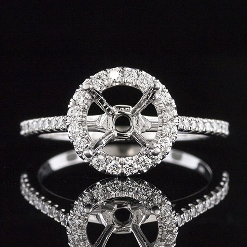 1490AGR2-1 Double gallery Modern Vintage-inspired groove set diamond platinum semi mount engagement ring