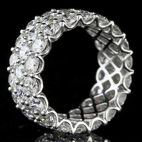PPD239-101P Dramatic extra wide triple-row common prong set diamond platinum wedding eternity band