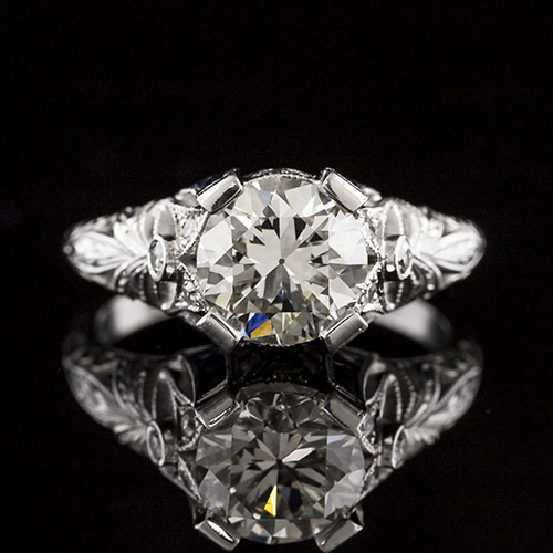 1652-4Edwardian-inspired French-cut sapphire & diamond platinum floral motif high set engagement ring semi mount