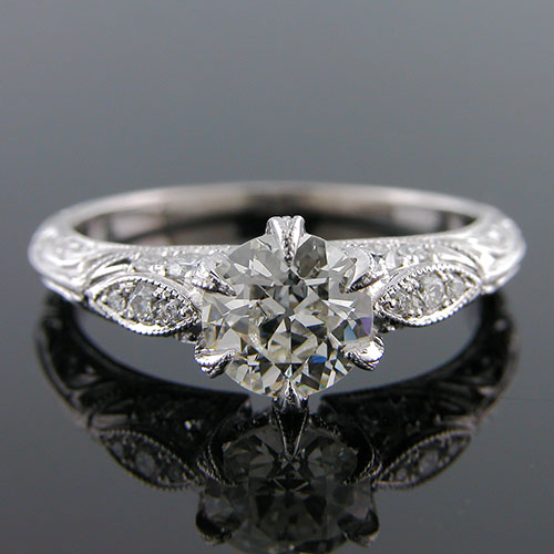 1279-1 Edwardian-inspired Pave set diamond with marquise feature platinum engraved engagement ring semi mount