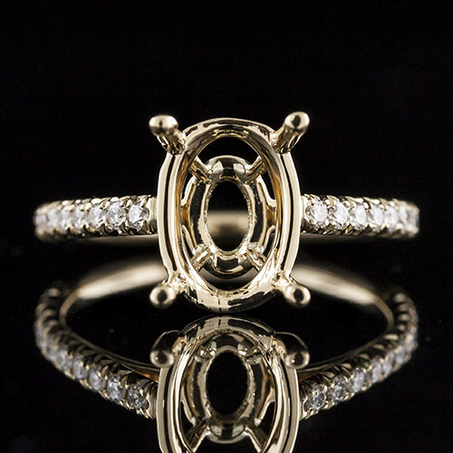 1618Y-1 Faceted cutdown-set diamond Vintage-inspired yellow gold engagement ring semi mount for oval center