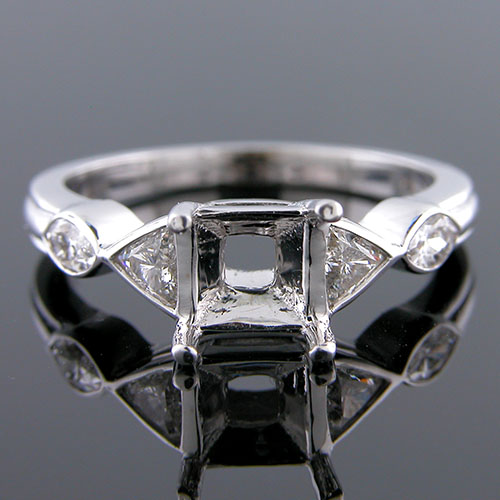 1275-1 Fancy cut trillion diamond and marquise diamond Modern Vintage platinum engagement ring semi mount