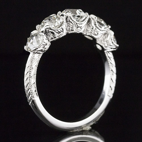1602-1 Five stone Edwardian-inspired engraved platinum ring semi mount