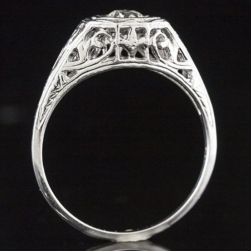 1322-1 Georgian inspired open filigree scrollwork platinum semi mount engagement ring