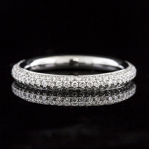PPD260-101P High dome 3-row Micro Pave-set diamond platinum eternity wedding band