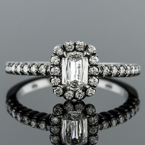 Lamore cut diamond with fishtail-set diamond halo 18K blackened white gold engagement ring 1158RF06