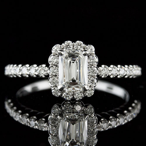 Lamore cut diamond with fishtail-set diamond halo 18K white gold engagement ring 1158RF08