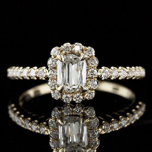 Lamore cut diamond with fishtail-set diamond halo 18K yellow gold engagement ring 1158RF05