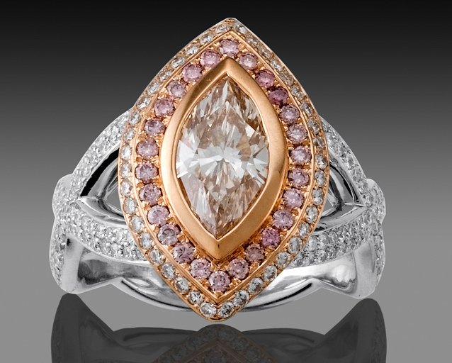 Natural pink-brown diamond, natural pink & white diamond two-tone platinum / 18K pink gold engagement ring MP0801