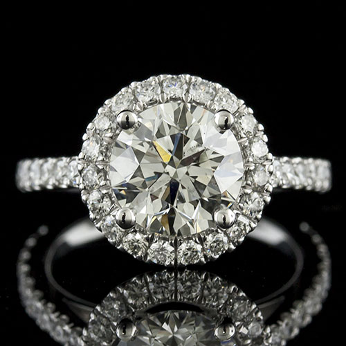 1426-1 Mid Century-inspired groove set diamond halo platinum engagement ring semi mount