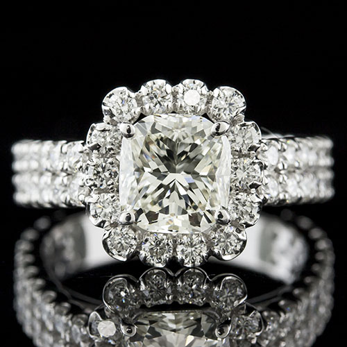 1419-1 Modern Vintage-inspired Groove set diamond halo boxed and flower 18K gold high set center engagement ring