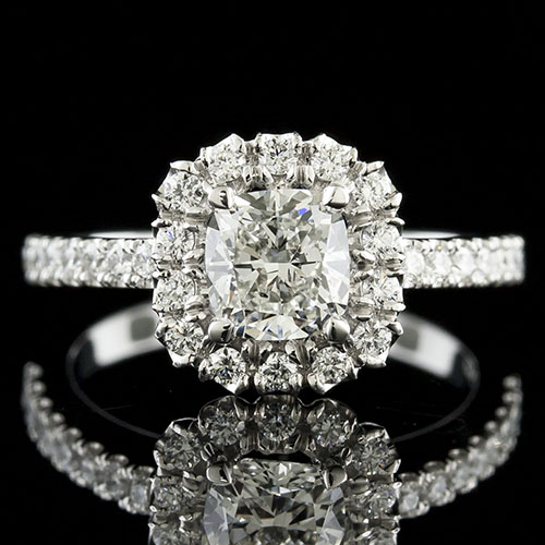1433-1 Modern Vintage-inspired fishtail-set and groove-set diamond platinum engagement ring semi mount