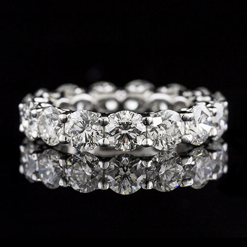 PPD258-101P Modern Vintage-inspired prong set diamond Hearts with Open Arms platinum wedding eternity band PPD258-101P