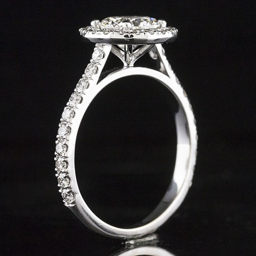 1604-1 Modern Vintage-inspired straight armed Groove-set diamond platinum engagement ring semi mount