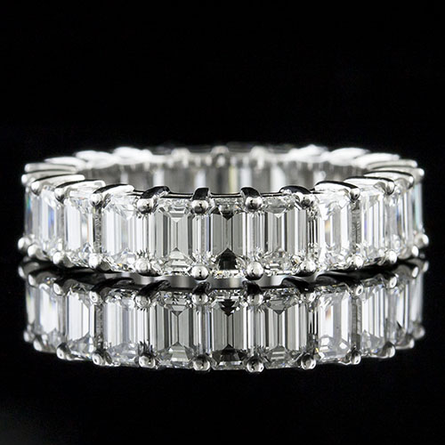 PPD241-101P Modern Vintage Emerald-cut diamond platinum wedding eternity band with airline