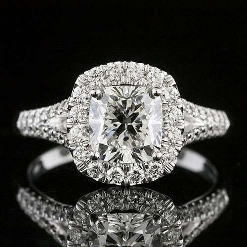 1456-1 Modern Vintage design split-shank groove set diamond halo engagement ring semi mount