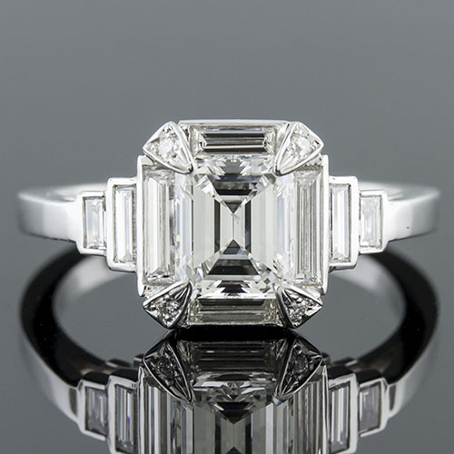 Modern Vintage inspired fancy baguette diamond halo and baguette sides platinum engagement ring semi mount 1417-1