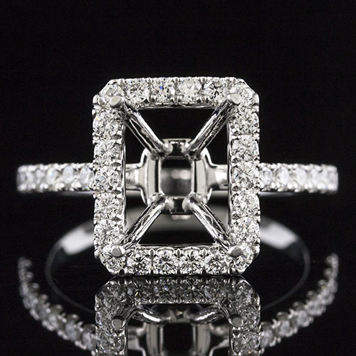 1442-1 Modern Vintage inspired groove set diamond platinum engagement ring semi mount for Emerald cut center